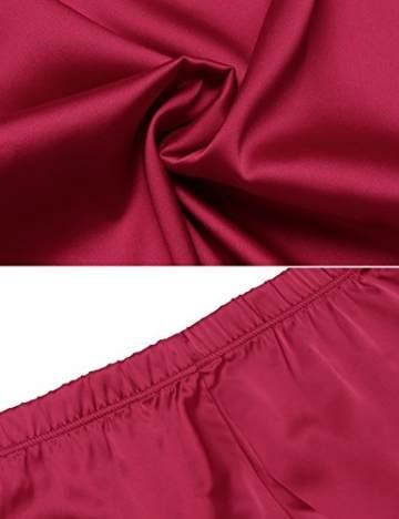Avidlove Damen Schlafanzüge Satin Kurz Sexy Wäsche Nachtwäsche Solid Pyjamas Sets Chemises Cami Top & Shorts Verstellbarer Träger  XL,  Stil 2: Weinrot - 5