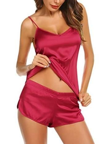 Avidlove Damen Schlafanzüge Satin Kurz Sexy Wäsche Nachtwäsche Solid Pyjamas Sets Chemises Cami Top & Shorts Verstellbarer Träger  L,  Stil 2: Weinrot - 3