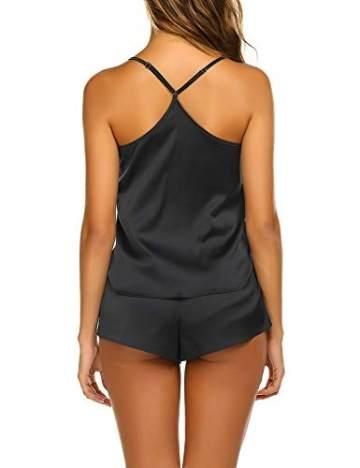 Avidlove Damen Schlafanzug Sexy Nachtwäsche Satin Kurz Pyjama Set Shorts Nachthemd Dessous Negligee Sleepwear mit Spaghettiträger - 3