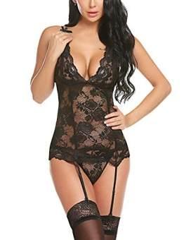 Avidlove Damen Sexy Body Dessous Reizwäsche Spitze Erotik Unterwäsche Strapsen Bodysuit Negligee Nachtwäsche Lingerie Babydoll Nachthemd mit Strumpfband(M, Schwarz8567) - 1
