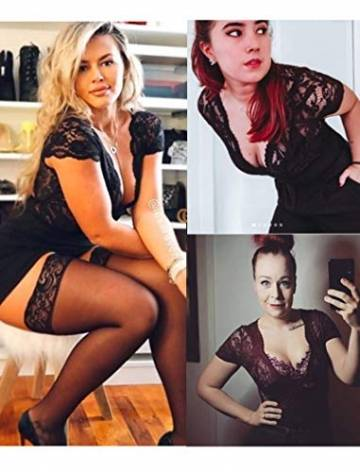 Avidlove Damen Spitzen-Body, sexy tiefer V-Ausschnitt, Druckknopf, Einteiler, Teddy-Dessous - - XX-Large - 5