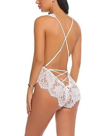 Avidlove Meaneor Fashion_Origin Damen Sexy Body Dessous Rückenfrei Spitze Bodysuit Negligee Reizwäsche, 1-weiß, XXL - 6