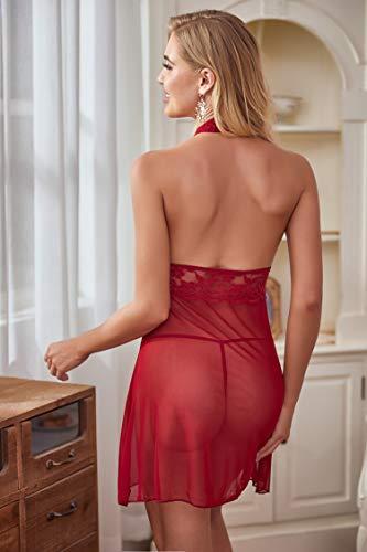 Avidlove Negligee Damen Nachtwäsche Nachtkleid Nachthemd Spitze Lingerie Dessous Reizwäsche Set Sleepwear Kleid,Dunkelrot,M - 4