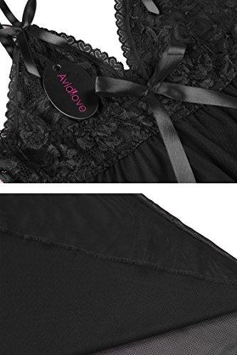 Avidlove Sexy Negligee Babydoll Unregelmäßiger Hem Nachtwäsche Spitze Dessous Kleid Nachthemd Lingerie Nachtkleid Reizwäsche G-String Sleepwear, Schwarz, S - 5