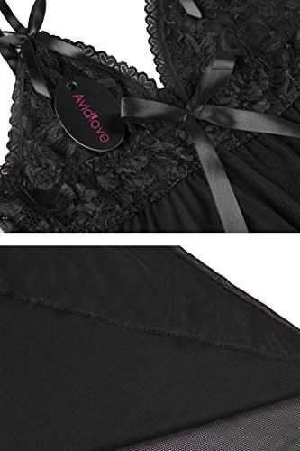 Avidlove Sexy Negligee Babydoll Unregelmäßiger Hem Nachtwäsche Spitze Dessous Kleid Nachthemd Lingerie Nachtkleid Reizwäsche G-String Sleepwear, Schwarz, XL - 2