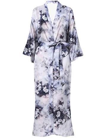 BABEYOND Damen Morgenmantel Kimono Große Größen Bademantel Lang Sommer Robe Blumen Muster Leicht Strandkleid Elegant Damen Satin Schlafmantel (F-Lotos) - 2