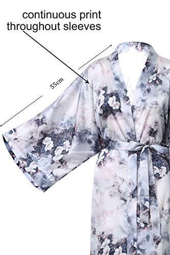BABEYOND Damen Morgenmantel Kimono Große Größen Bademantel Lang Sommer Robe Blumen Muster Leicht Strandkleid Elegant Damen Satin Schlafmantel (F-Lotos) - 3