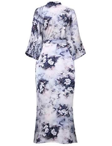 BABEYOND Damen Morgenmantel Kimono Große Größen Bademantel Lang Sommer Robe Blumen Muster Leicht Strandkleid Elegant Damen Satin Schlafmantel (F-Lotos) - 5