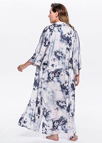 BABEYOND Damen Morgenmantel Kimono Große Größen Bademantel Lang Sommer Robe Blumen Muster Leicht Strandkleid Elegant Damen Satin Schlafmantel (F-Lotos) - 6