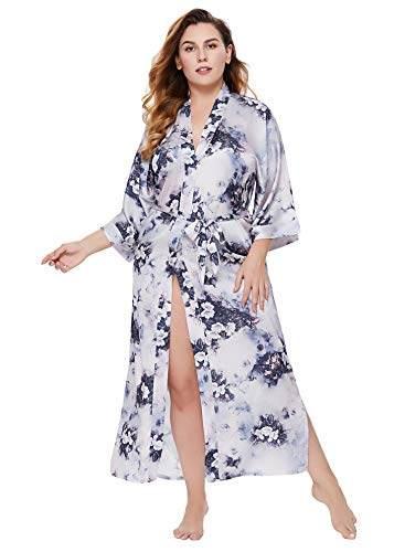 BABEYOND Damen Morgenmantel Kimono Große Größen Bademantel Lang Sommer Robe Blumen Muster Leicht Strandkleid Elegant Damen Satin Schlafmantel (F-Lotos) - 1