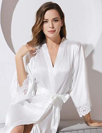 BABEYOND Damen Morgenmantel Lang Kurz Einfarbiger Bademantel Spitzen Ärmel Seide Satin Kimono Kleid Damen Sommer Robe Reine Farbe Schlafmantel (Lang - Weiß) - 4
