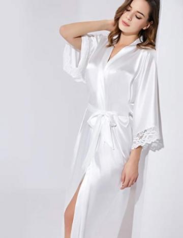 BABEYOND Damen Morgenmantel Lang Kurz Einfarbiger Bademantel Spitzen Ärmel Seide Satin Kimono Kleid Damen Sommer Robe Reine Farbe Schlafmantel (Lang - Weiß) - 5
