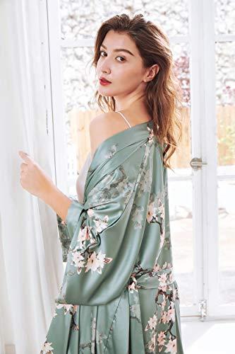 BABEYOND Damen Morgenmantel Maxi Lang Satin Sommer Kimono Blumen Muster Gedruckt Bademantel Kimono Strickjacke Damen Lange Robe Blumen Schlafmantel Girl Pajama Party (Stil3 - Grün) - 2
