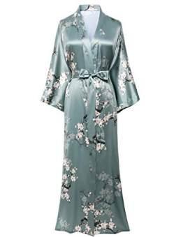 BABEYOND Damen Morgenmantel Maxi Lang Satin Sommer Kimono Blumen Muster Gedruckt Bademantel Kimono Strickjacke Damen Lange Robe Blumen Schlafmantel Girl Pajama Party (Stil3 - Grün) - 1