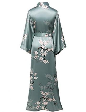 BABEYOND Damen Morgenmantel Maxi Lang Satin Sommer Kimono Blumen Muster Gedruckt Bademantel Kimono Strickjacke Damen Lange Robe Blumen Schlafmantel Girl Pajama Party (Stil3 - Grün) - 5