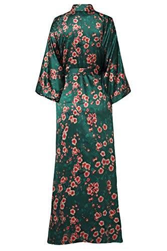 BABEYOND Damen Morgenmantel Maxi Lang Seide Satin Kimono Kleid Blüten Muster Kimono Bademantel Damen Lange Robe Blumen Schlafmantel Girl Pajama Party 135 cm Lang (Pfirsichblüte) - 2