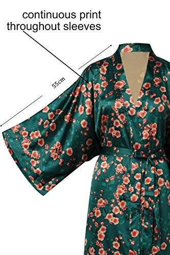 BABEYOND Damen Morgenmantel Maxi Lang Seide Satin Kimono Kleid Blüten Muster Kimono Bademantel Damen Lange Robe Blumen Schlafmantel Girl Pajama Party 135 cm Lang (Pfirsichblüte) - 3