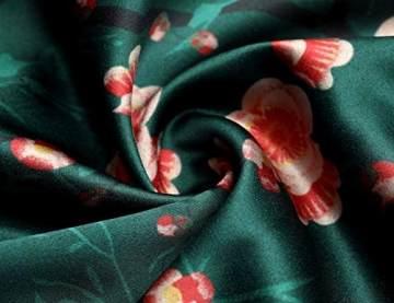 BABEYOND Damen Morgenmantel Maxi Lang Seide Satin Kimono Kleid Blüten Muster Kimono Bademantel Damen Lange Robe Blumen Schlafmantel Girl Pajama Party 135 cm Lang (Pfirsichblüte) - 4