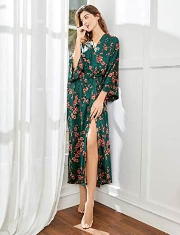 BABEYOND Damen Morgenmantel Maxi Lang Seide Satin Kimono Kleid Blüten Muster Kimono Bademantel Damen Lange Robe Blumen Schlafmantel Girl Pajama Party 135 cm Lang (Pfirsichblüte) - 5