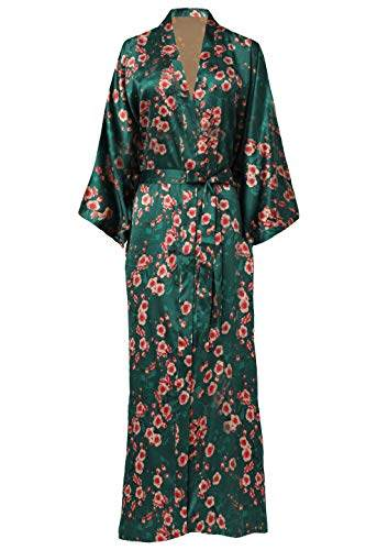 BABEYOND Damen Morgenmantel Maxi Lang Seide Satin Kimono Kleid Blüten Muster Kimono Bademantel Damen Lange Robe Blumen Schlafmantel Girl Pajama Party 135 cm Lang (Pfirsichblüte) - 1