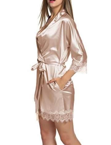 Balancora Damen Morgenmantel Bademantel Satin Sexy Kimono mit Taschen Kurz Robe mit Gürtel Nachthemd für Braut Nachtwäsche Mit Blumenspitze S 1-a Champagner - 2