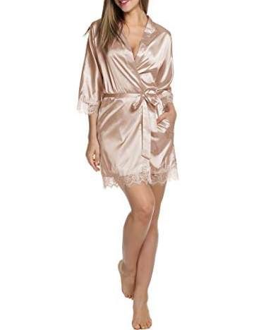 Balancora Damen Morgenmantel Bademantel Satin Sexy Kimono mit Taschen Kurz Robe mit Gürtel Nachthemd für Braut Nachtwäsche Mit Blumenspitze S 1-a Champagner - 3