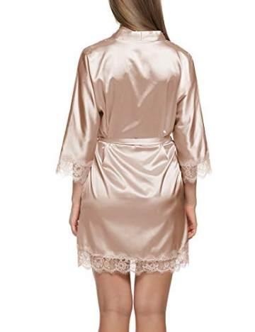 Balancora Damen Morgenmantel Bademantel Satin Sexy Kimono mit Taschen Kurz Robe mit Gürtel Nachthemd für Braut Nachtwäsche Mit Blumenspitze S 1-a Champagner - 4