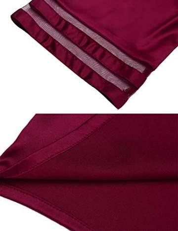 Balancora Robe Damen Seide Morgenmantel Kurz 3/4 Ärmel Kimono Sexy Bademantel V-Ausschnitt Saunamantel Robe Negligee Sommer - 2