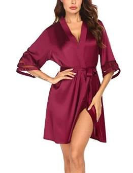Balancora Robe Damen Seide Morgenmantel Kurz 3/4 Ärmel Kimono Sexy Bademantel V-Ausschnitt Saunamantel Robe Negligee Sommer - 1