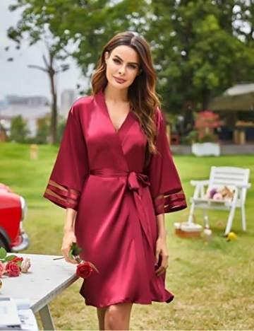 Balancora Robe Damen Seide Morgenmantel Kurz 3/4 Ärmel Kimono Sexy Bademantel V-Ausschnitt Saunamantel Robe Negligee Sommer - 4
