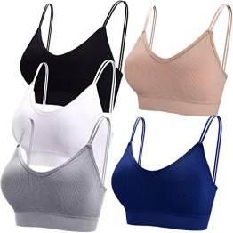 BQTQ 5 Stücke Bralette, V Hals Cami Top BH, Bralette Damen, Schlafen BH, für Frauen, Mädchen (schwarz, weiß, grau, beige, Marineblau, XL) - 1