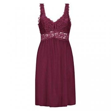 Hunkemöller Damen Slipdress Modal Lace- Gr. XL, Windsor Wine - 1