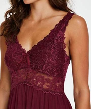 Hunkemöller Damen Slipdress Modal Lace- Gr. XL, Windsor Wine - 4