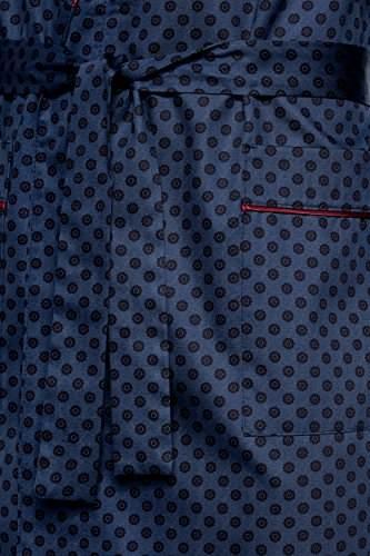 LEVERIE edler und hochwertiger Morgenmantel für Herren mit elegantem Muster (XXXL, Dunkelblau/Rot mit Punkte) - 3