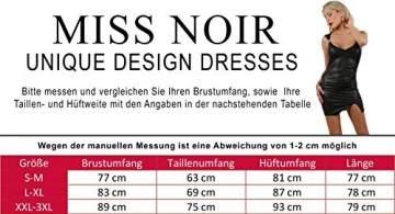 Miss Noir Damen Wetlook Sexy Partykleid S-3XL Minikleid Stretch Clubwear Schwarz (Schwarz, S-M) - 2