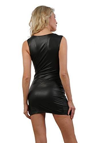 Miss Noir Damen Wetlook Sexy Partykleid S-3XL Minikleid Stretch Clubwear Schwarz (Schwarz, S-M) - 4