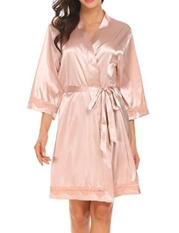 Morgenmantel Damen Sexy Kimono Kurz Bademantel Seide Roben Frauen Schlafanzüge V Ausschnitt Mit Blumenspitze Champagner-XL - 2