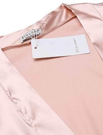 Morgenmantel Damen Sexy Kimono Kurz Bademantel Seide Roben Frauen Schlafanzüge V Ausschnitt Mit Blumenspitze Champagner-XL - 3