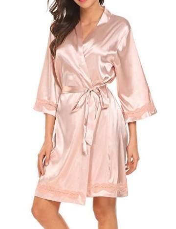Morgenmantel Damen Sexy Kimono Kurz Bademantel Seide Roben Frauen Schlafanzüge V Ausschnitt Mit Blumenspitze Champagner-XL - 1