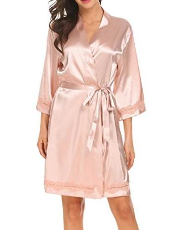 Morgenmantel Damen Sexy Kimono Kurz Bademantel Seide Roben Frauen Schlafanzüge V Ausschnitt Mit Blumenspitze Champagner-XL - 5
