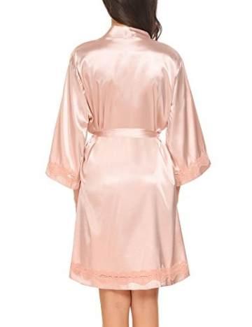 Morgenmantel Damen Sexy Kimono Kurz Bademantel Seide Roben Frauen Schlafanzüge V Ausschnitt Mit Blumenspitze Champagner-XL - 9