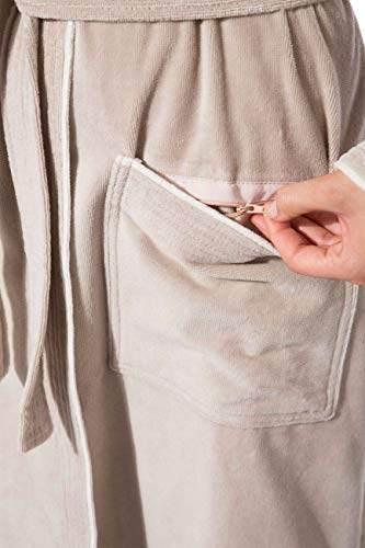 Morgenstern Bademantel für Damen aus Baumwolle mit Kapuze in Sand Bade Mantel wadenlang Damen Bademantel Frottee Größe L Leonie - 4