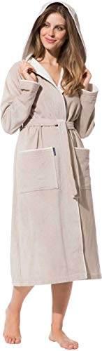 Morgenstern Bademantel für Damen aus Baumwolle mit Kapuze in Sand Bade Mantel wadenlang Damen Bademantel Frottee Größe L Leonie - 5