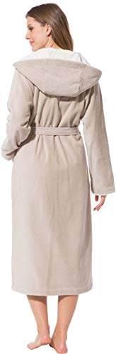 Morgenstern Bademantel für Damen aus Baumwolle mit Kapuze in Sand Bade Mantel wadenlang Damen Bademantel Frottee Größe L Leonie - 7