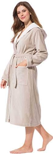 Morgenstern Bademantel für Damen aus Baumwolle mit Kapuze in Sand Bade Mantel wadenlang Damen Bademantel Frottee Größe L Leonie - 8