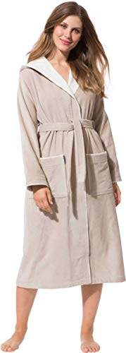 Morgenstern Bademantel für Damen aus Baumwolle mit Kapuze in Sand Bade Mantel wadenlang Damen Bademantel Frottee Größe L Leonie - 1