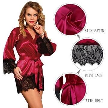 ohyeahlady Damen Kimono Kurz Robe Satin-Seide Blumenspitzen V-Ausschnitt Morgenmantel Bademantel Nachthemden mit Gürtel - 6