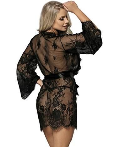 ohyeahlady Damen Kimono Spitzen Robe Volant Langarm Transparent Weiter Ärmel Reizwäsche Nachtwäsche MorgenmantelBademantelDessous Set mit G-String Gürtel(Schwarz,XL-2XL) - 2