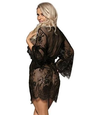 ohyeahlady Damen Kimono Spitzen Robe Volant Langarm Transparent Weiter Ärmel Reizwäsche Nachtwäsche MorgenmantelBademantelDessous Set mit G-String Gürtel(Schwarz,XL-2XL) - 4