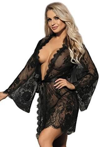 ohyeahlady Damen Kimono Spitzen Robe Volant Langarm Transparent Weiter Ärmel Reizwäsche Nachtwäsche MorgenmantelBademantelDessous Set mit G-String Gürtel(Schwarz,XL-2XL) - 1